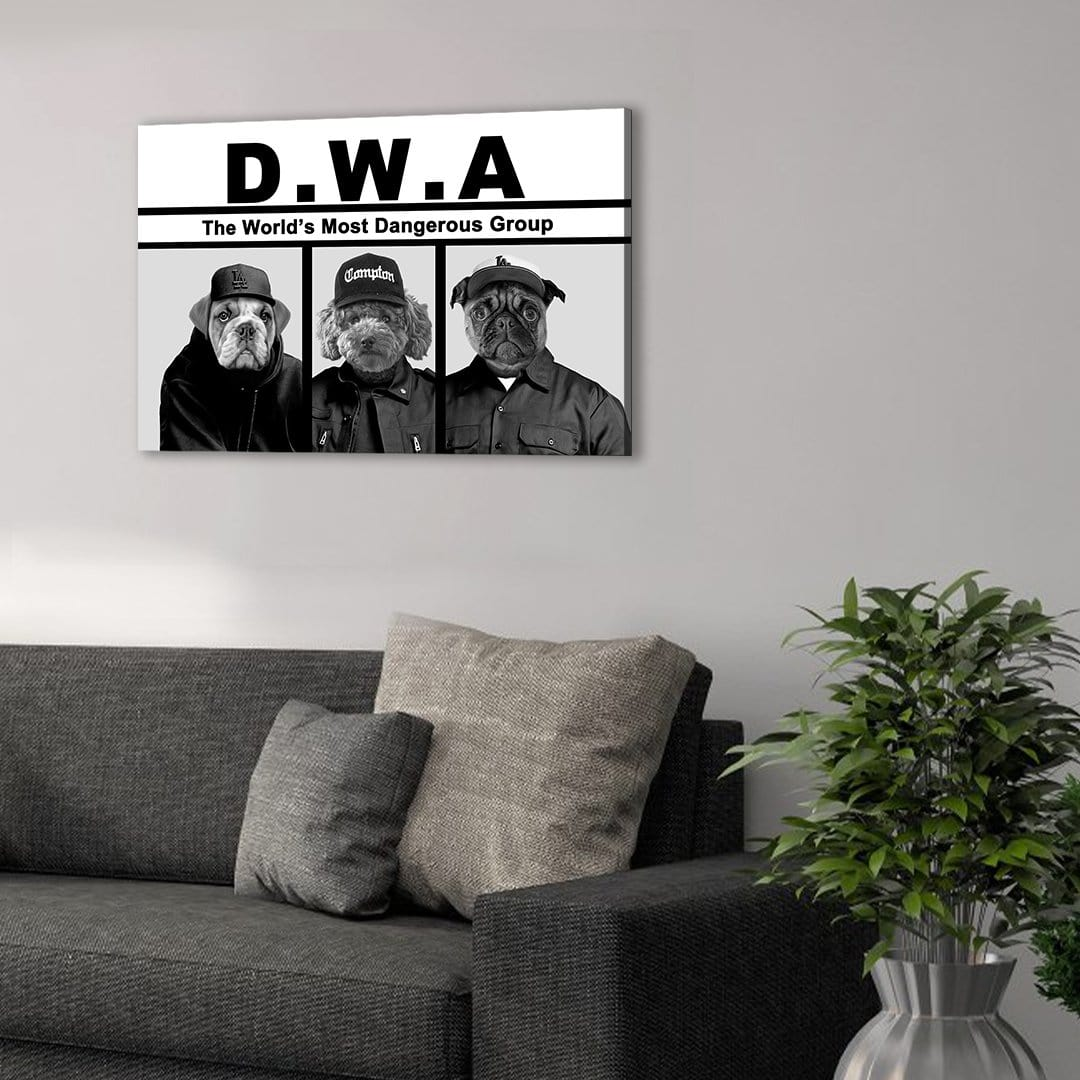'D.W.A. (Doggo's With Attitude)' Personalized 3 Pet Canvas