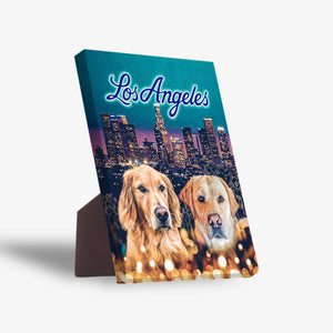 'Doggos of Los Angeles' Personalized 2 Pet Standing Canvas