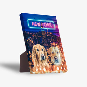 'Doggos of New York' Personalized 2 Pet Standing Canvas