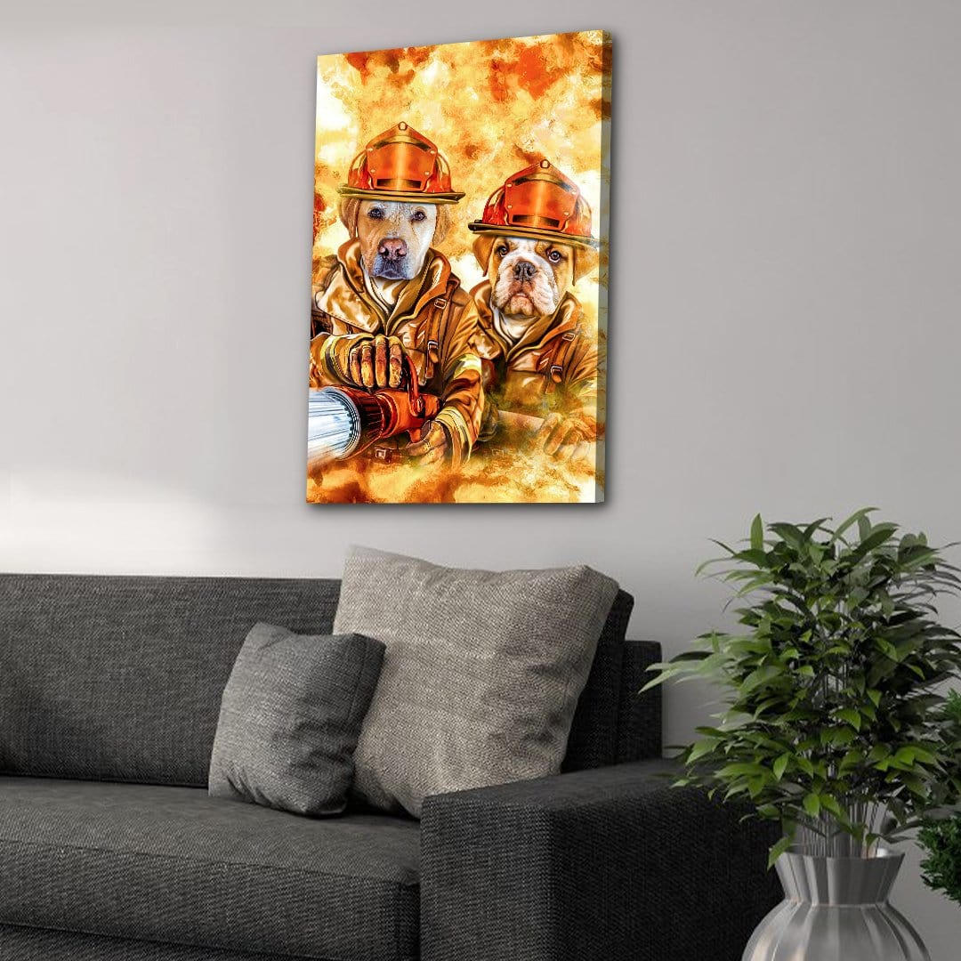 'The Firefighters' Personalized 2 Pet Canvas