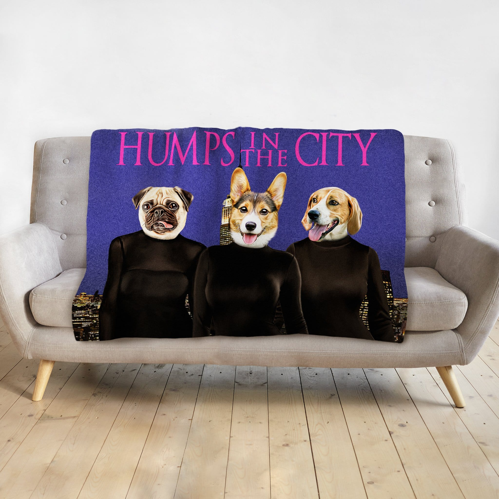 'Humps in the City' Personalized 3 Pet Blanket