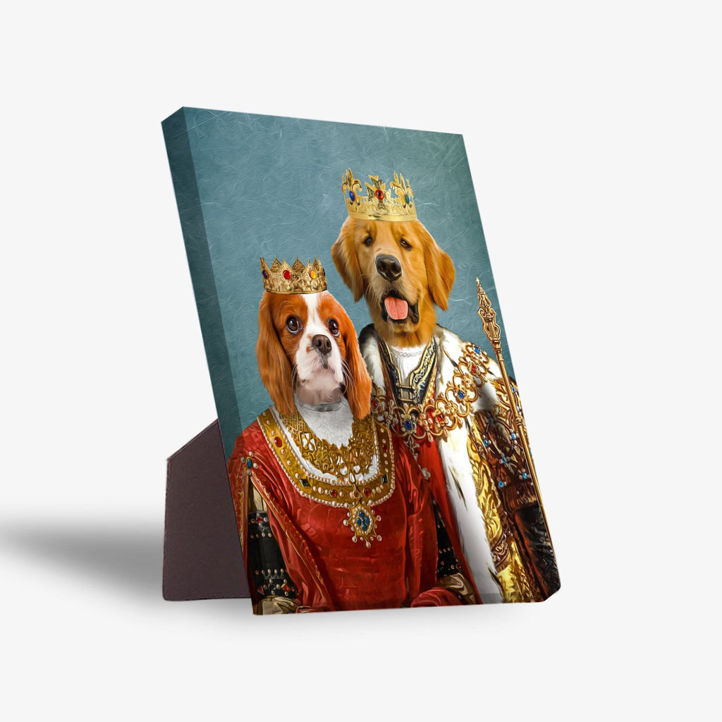 'King and Queen' Personalized 2 Pet Standing Canvas