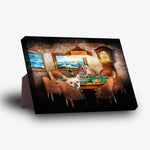 'The Poker Players' Personalized 2 Pet Standing Canvas