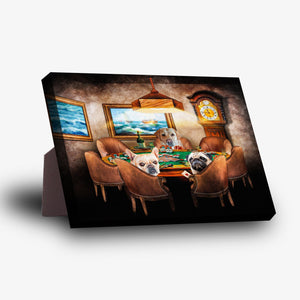 'The Poker Players' Personalized 3 Pet Standing Canvas