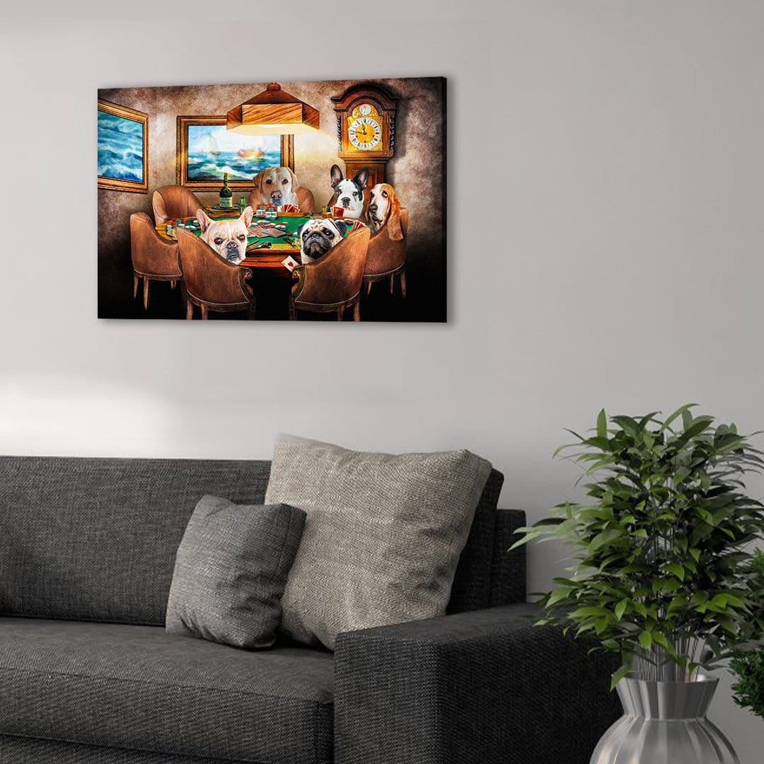 'The Poker Players' Personalized 5 Pet Canvas