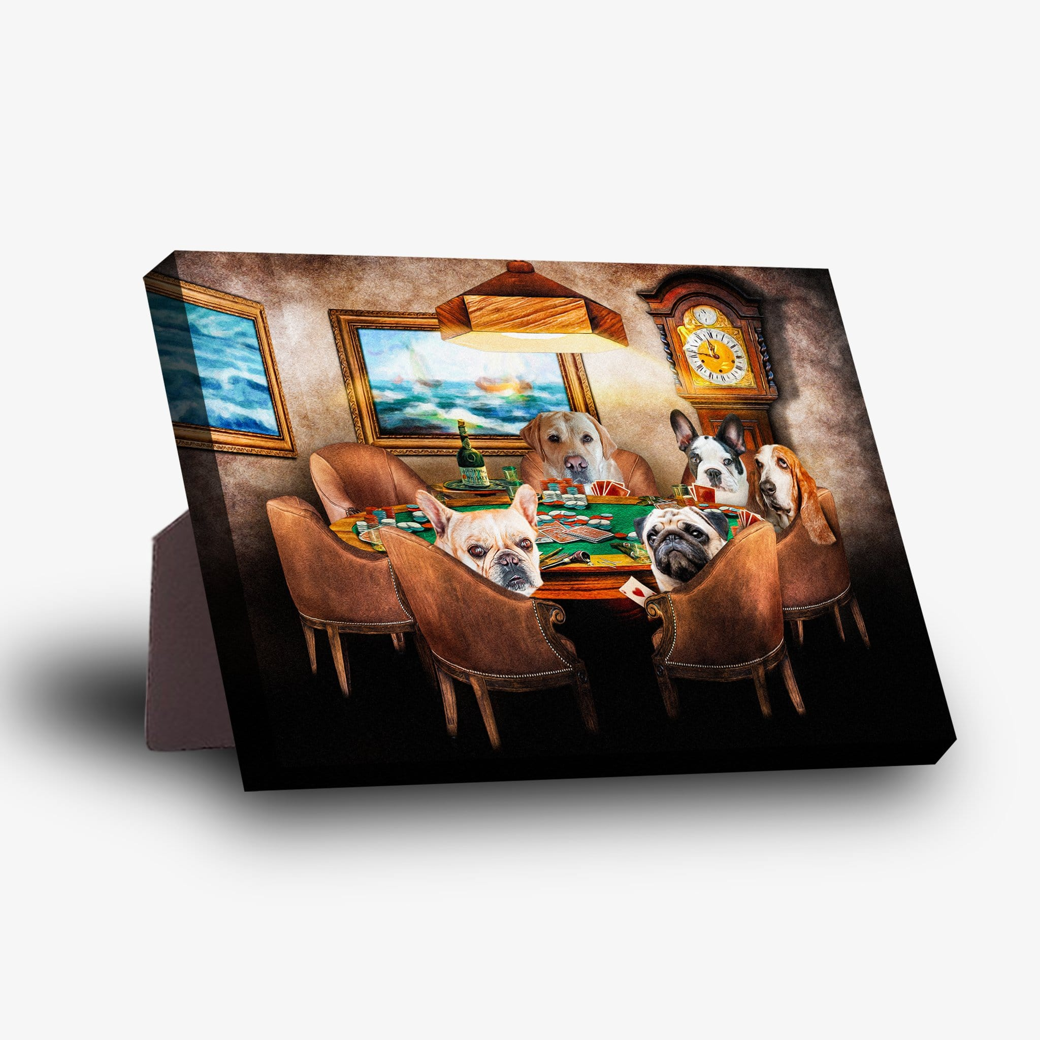 'The Poker Players' Personalized 5 Pet Standing Canvas