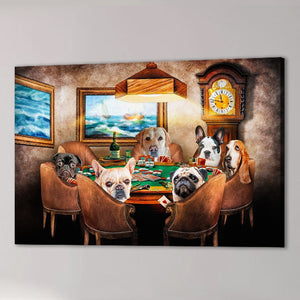 'The Poker Players' Personalized 6 Pet Canvas