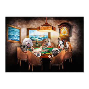 'The Poker Players' Personalized 6 Pet Digital Portrait