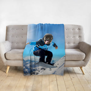 'The Snowboarder' Personalized Pet Blanket