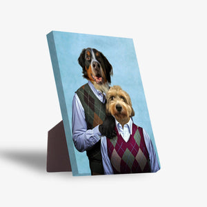 'Step Doggo & Doggette' Personalized 2 Pet Standing Canvas