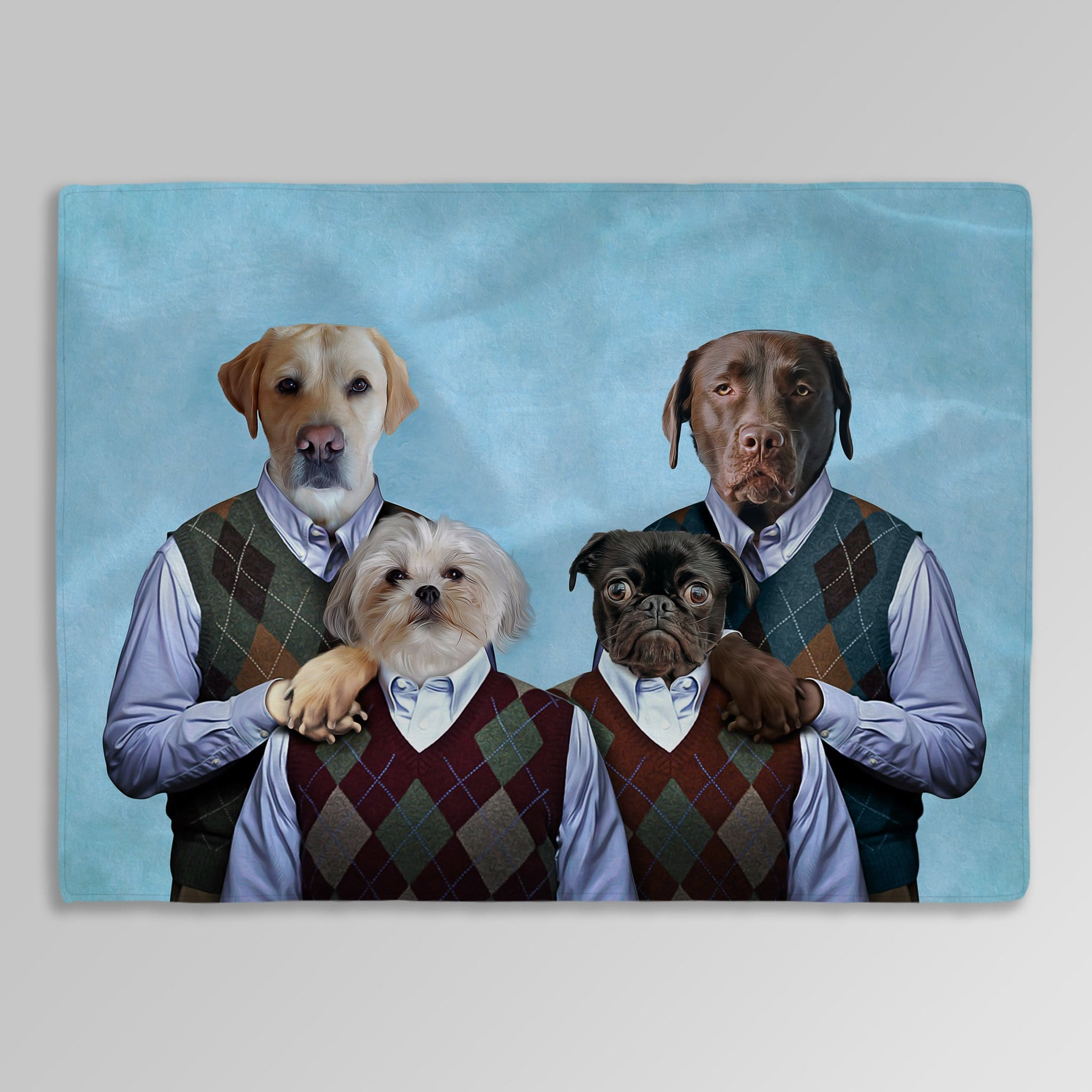 'Step Doggos and Doggette' Personalized 4 Pet Blanket