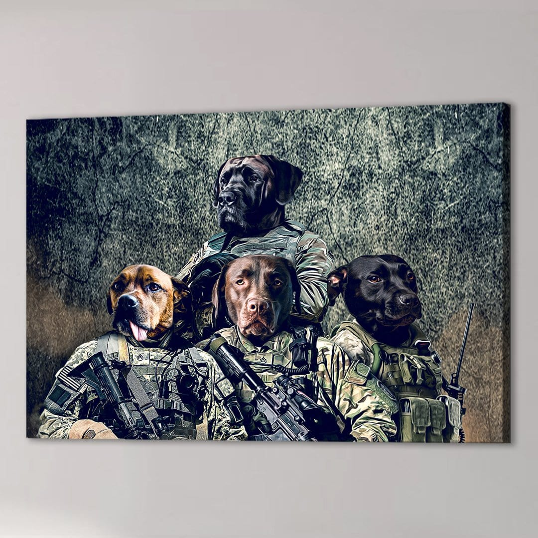 'The Army Veterans' Personalized 4 Pet Canvas