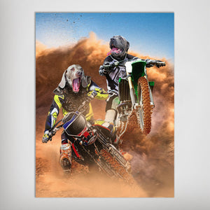 'The Motocross Riders' Personalized 2 Pet Poster