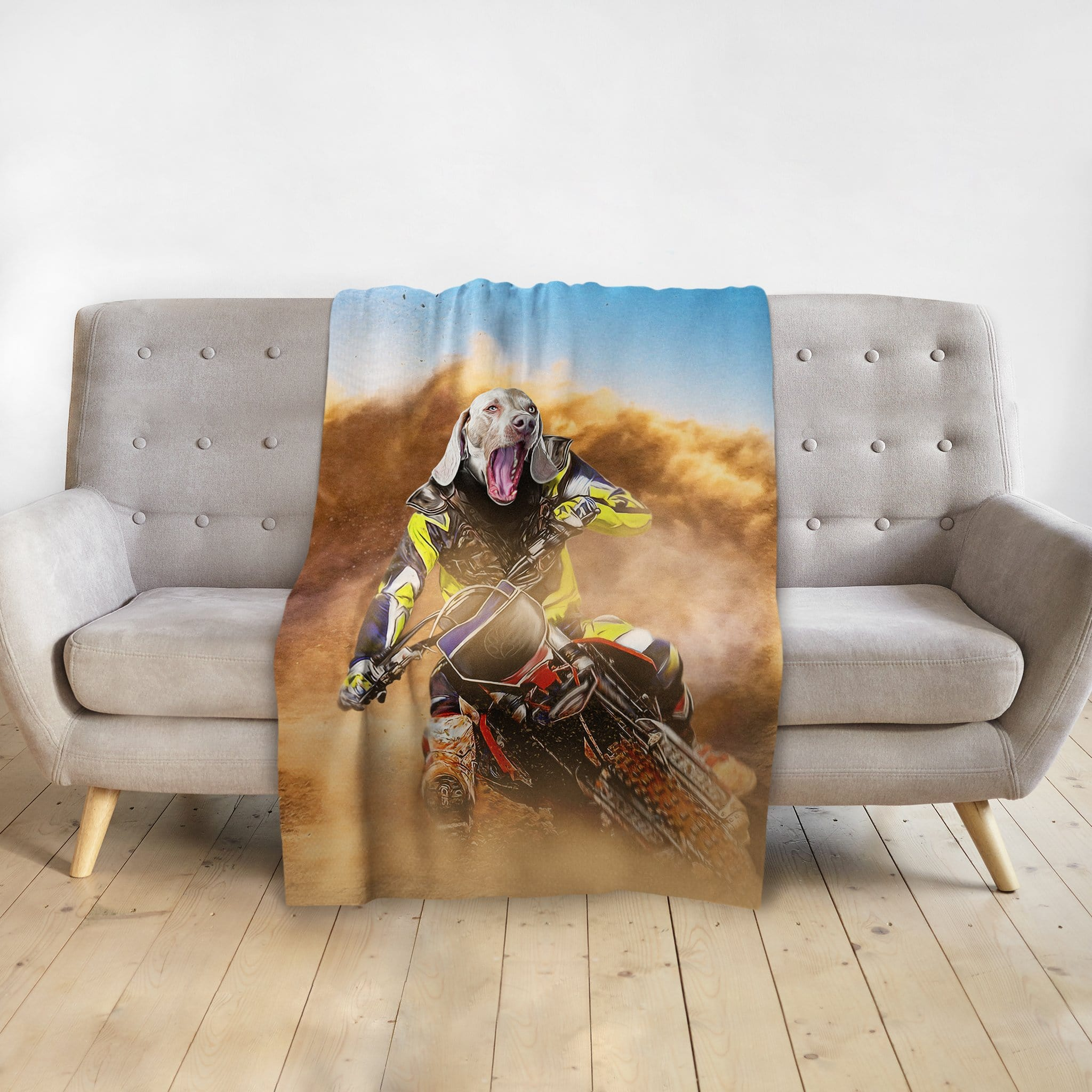 'The Motocross Rider' Personalized Pet Blanket