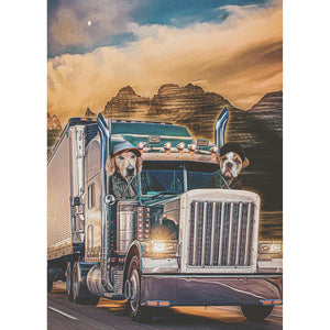 'The Truckers' 2 Pet Digital Portrait
