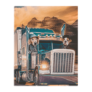 'The Truckers' Personalized 2 Pet Standing Canvas
