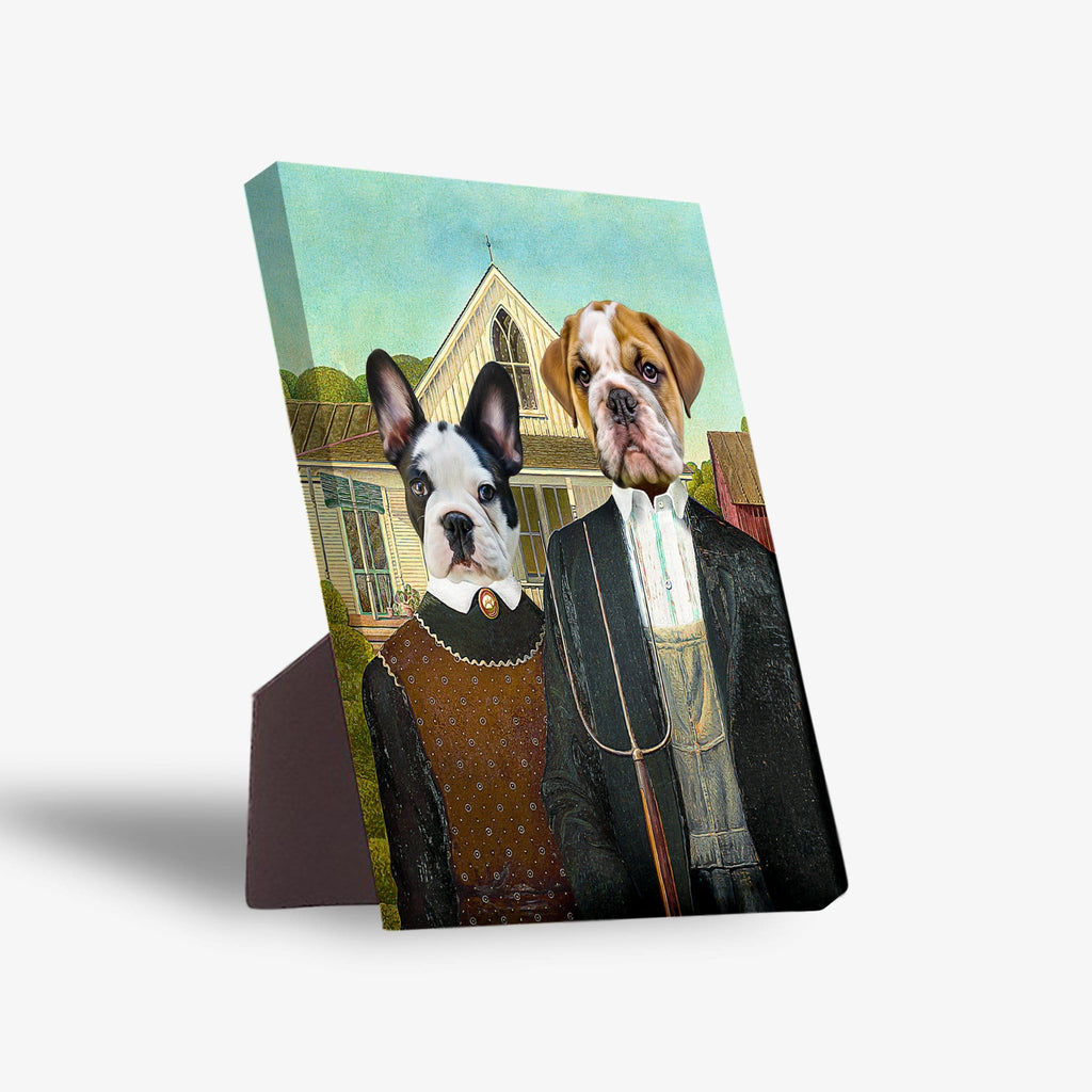 'American Pawthic' Personalized 2 Pet Standing Canvas
