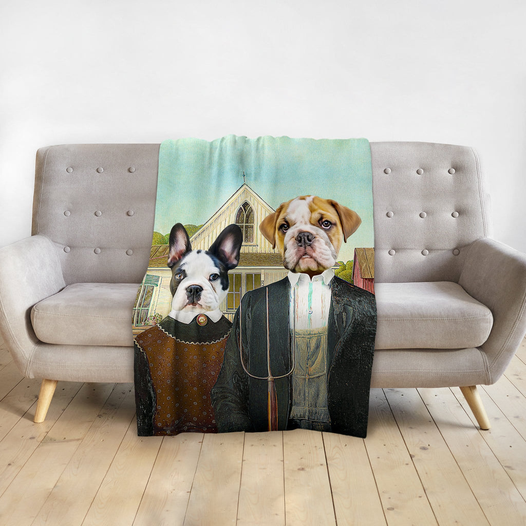 'American Pawthic' Personalized 2 Pet Blanket