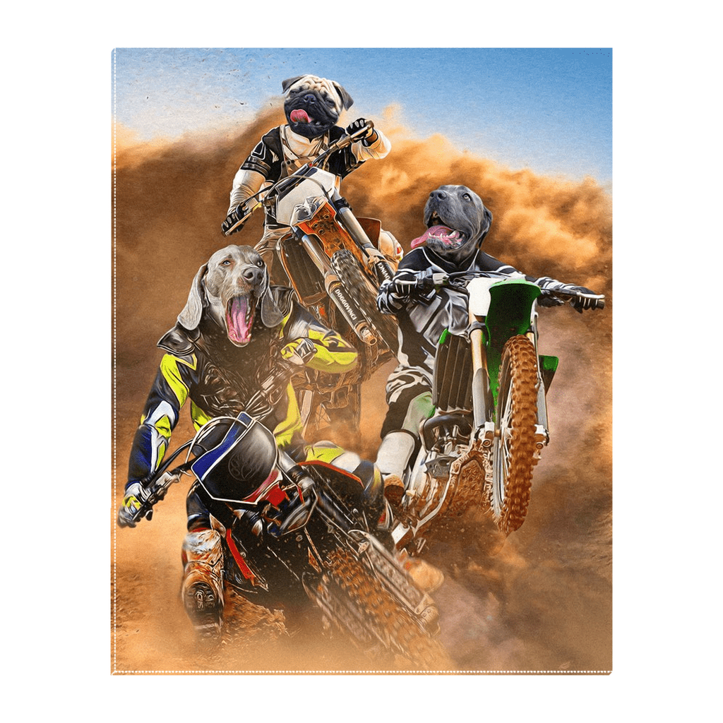 'The Motocross Riders' Personalized 3 Pet Standing Canvas