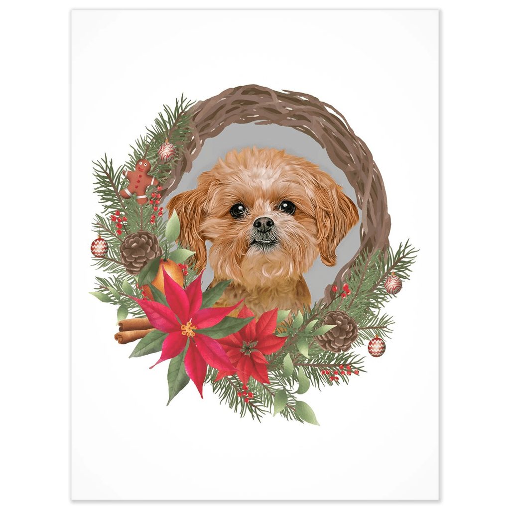 Personalized Christmas Wreath Pet Poster