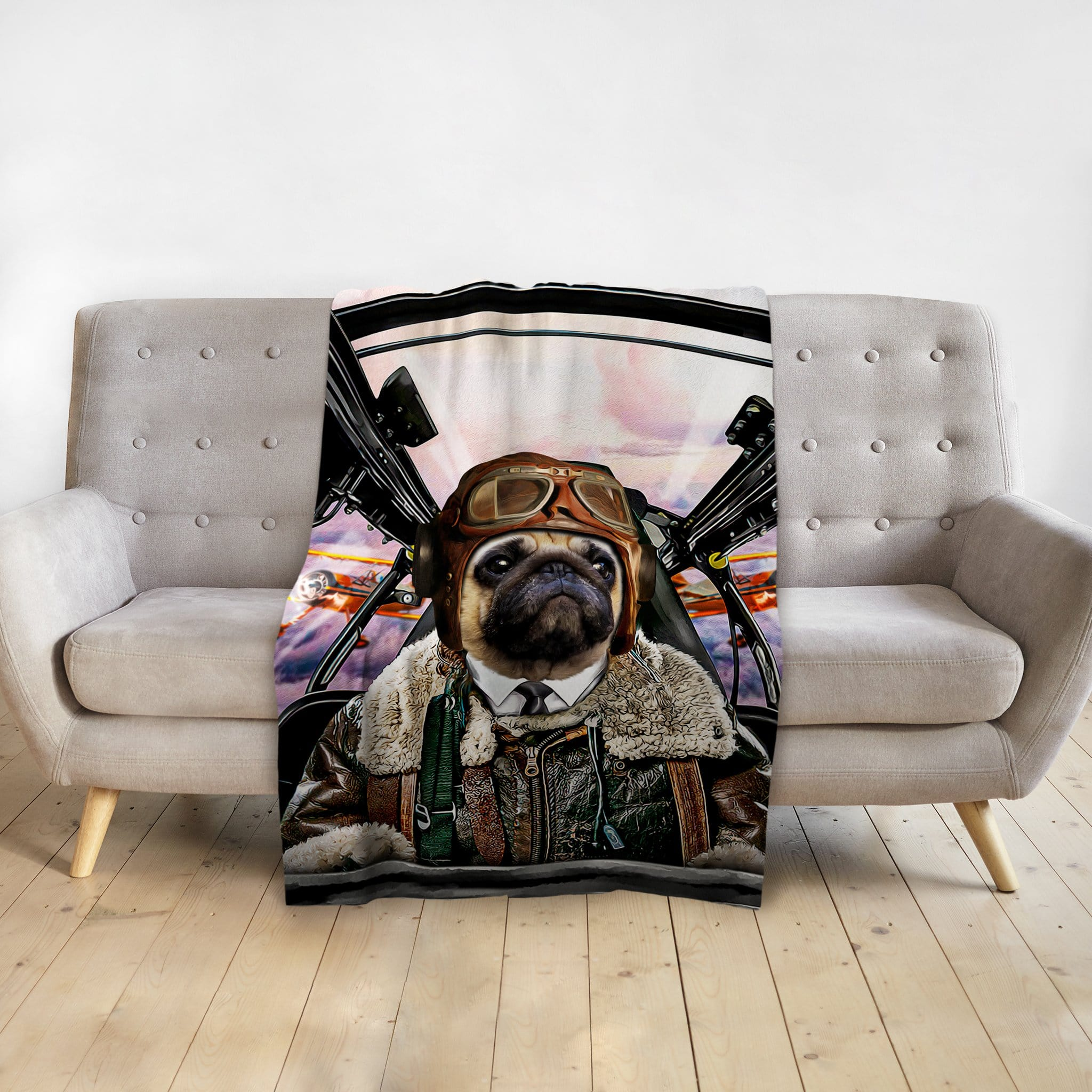 'The Pilot' Personalized Pet Blanket