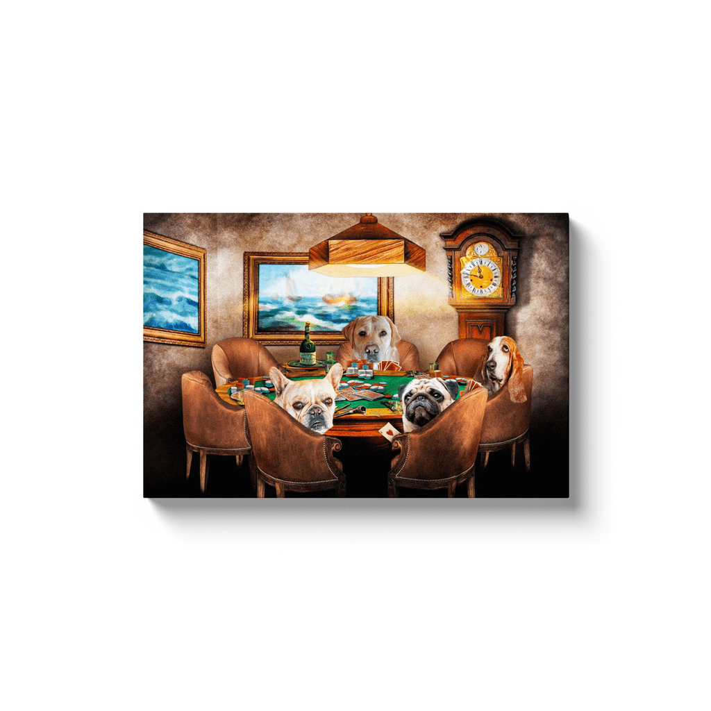 'The Poker Players' Personalized 4 Pet Canvas