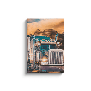 'The Truckers' Personalized 2 Pet Canvas