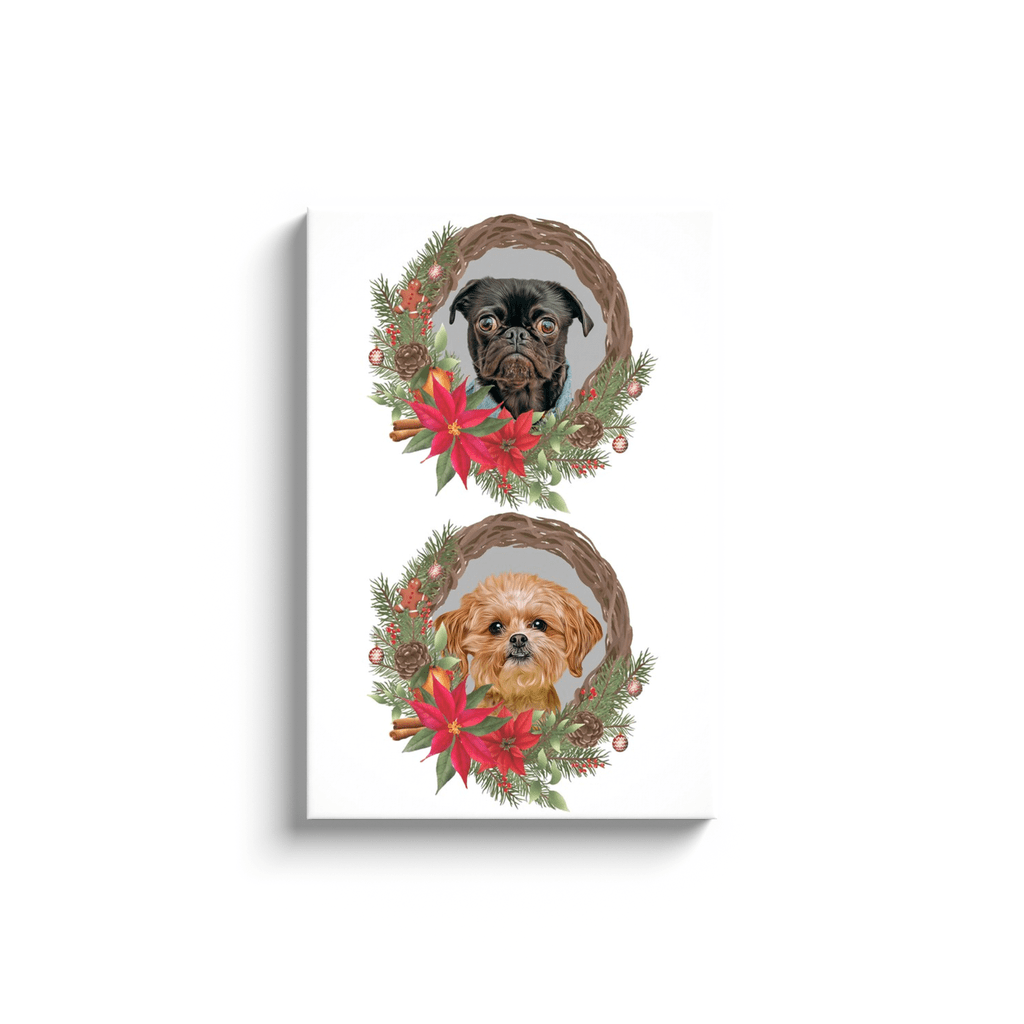 2 Pet Personalized Christmas Wreath Canvas