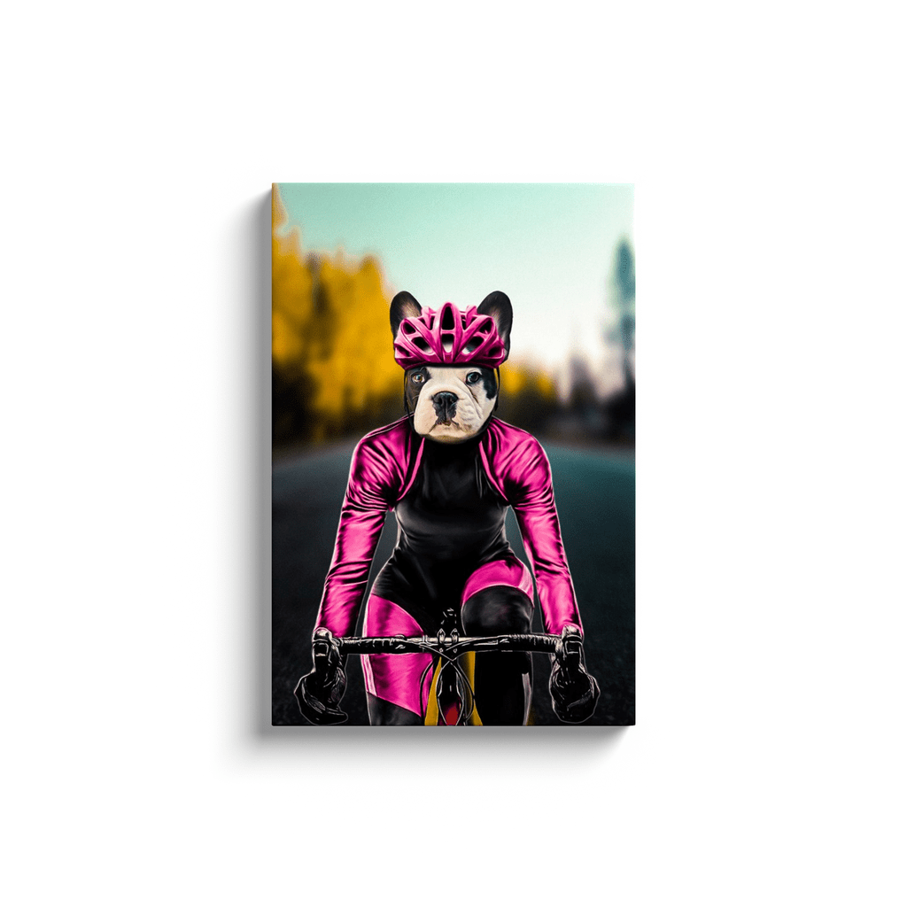 'The Female Cyclist' Personalized Pet Canvas
