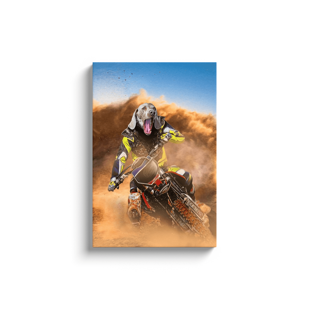 'The Motocross Rider' Personalized Pet Canvas