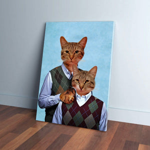 'Step-Kitties' Personalized 2 Cat Canvas