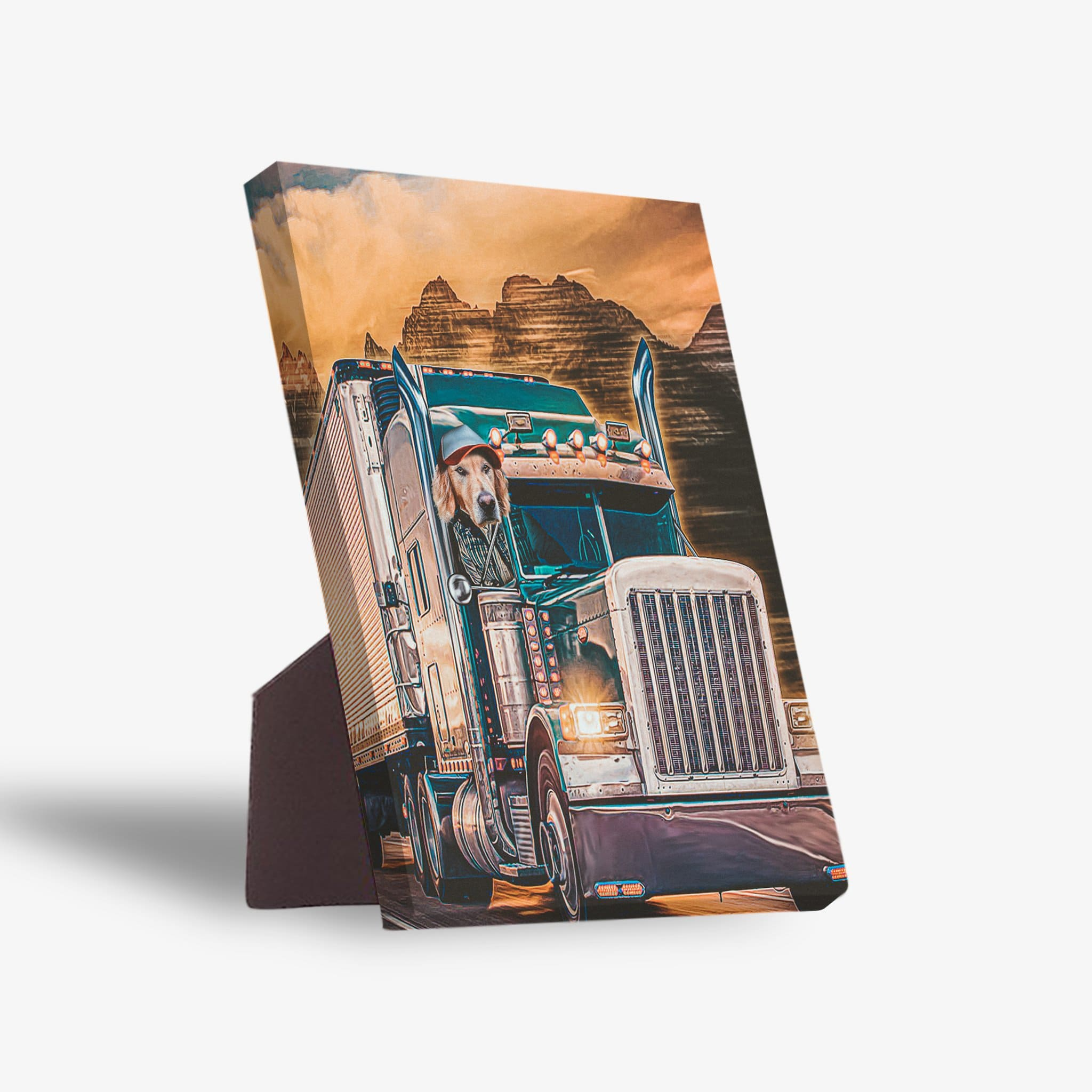 'The Trucker' Personalized Pet Standing Canvas