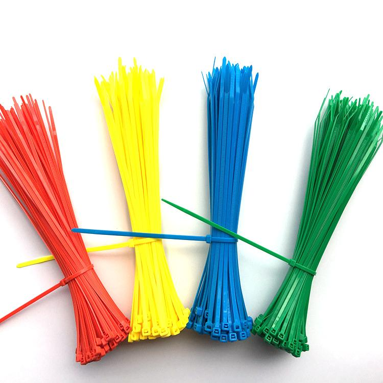 100pcs Cable Ties 4 Colors mix 2.5mm x 100mm Self-Locking Nylon Wire Cable Zip Ties Fasten Cable