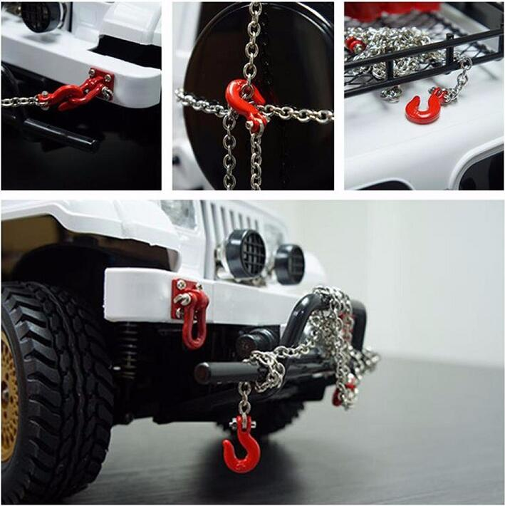 1/10 Scale Accessories Metal Trailer Rope Chain with Hook for RC Crawler