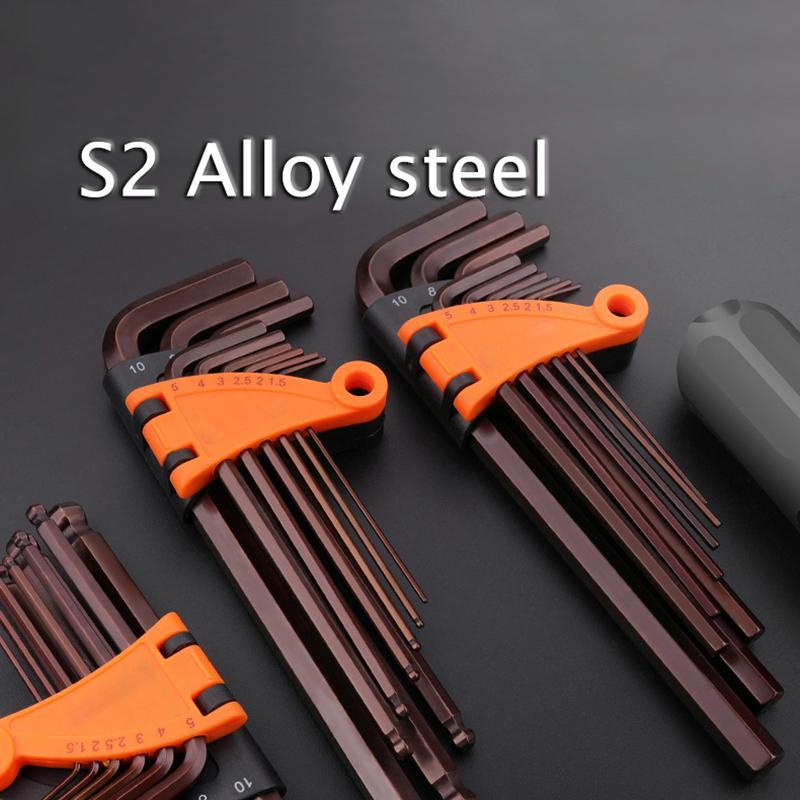 9 pcs L Type Double-End Screwdriver Hexagon Hex Allen Key Set Wrench Screwdriver Hand Tool Kit 1.5 mm-10 mm