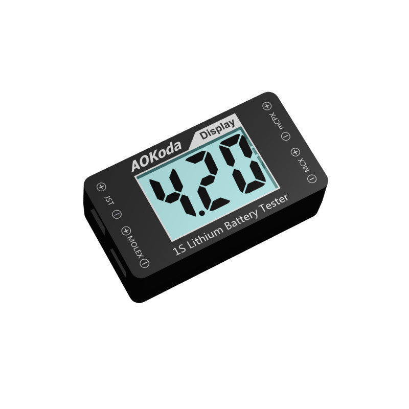 AOKoda AOK-041 1S Lithium Battery Tester Indicator for Checker For JST MOLEX mCPX MCX Plug Connector