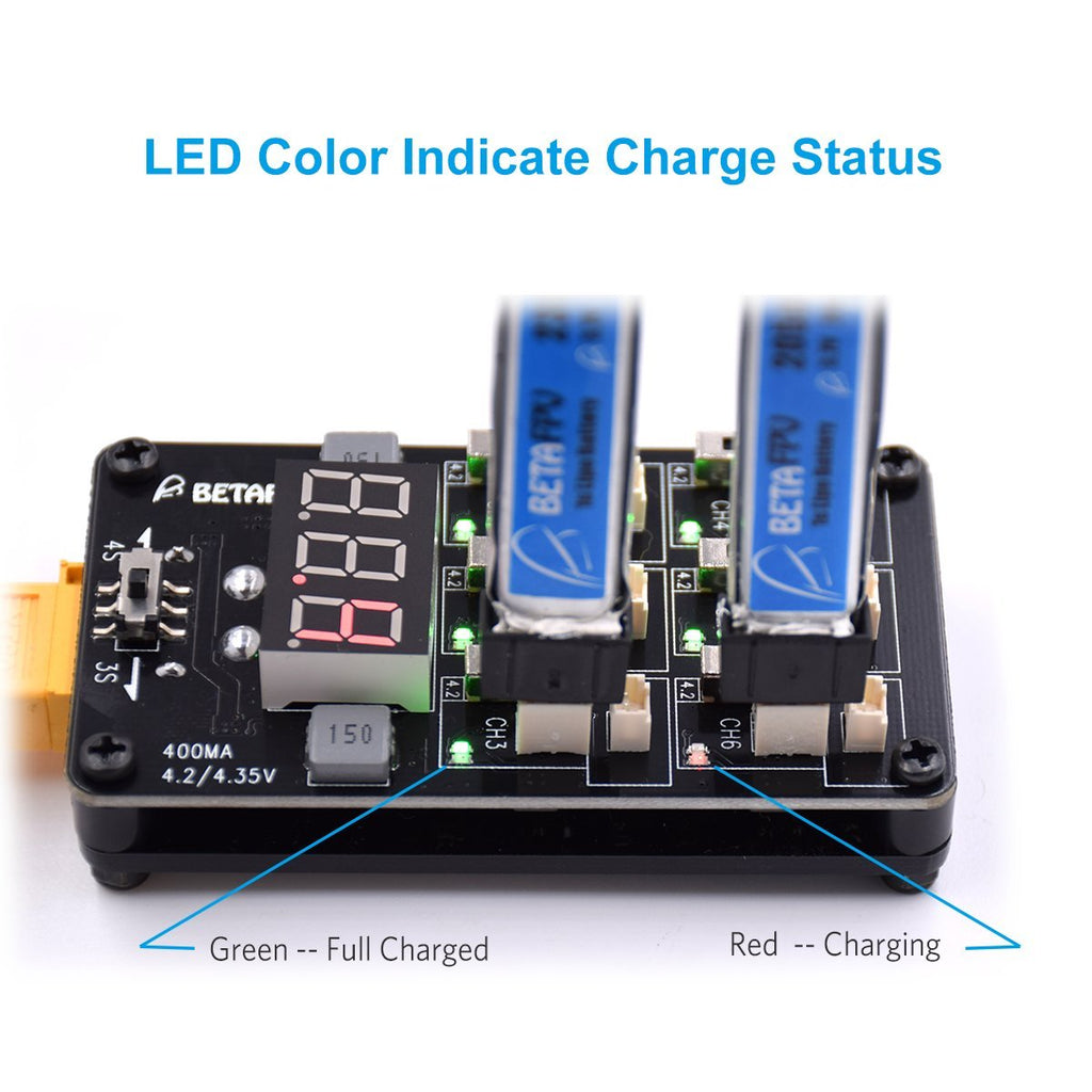 BETAFPV 1S Lipo LiHV Charger Board with XT60 12A 3V Battery Charger Adapter for PH2.0 1S Battery