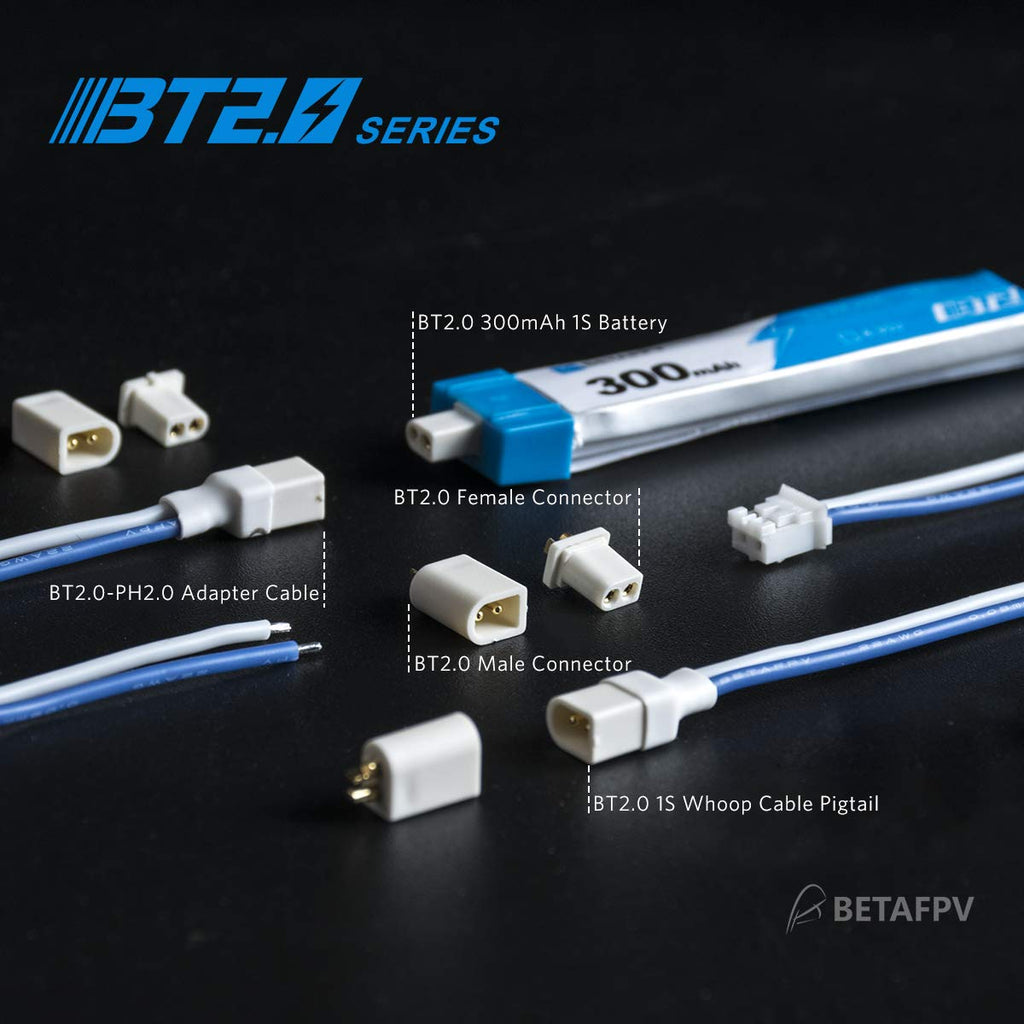 BETAFPV 6pcs BT2.0-PH2.0 Adapter Cable 22AWG for BT2.0 300mAh 1S Battery with 1.0mm Banana Connector