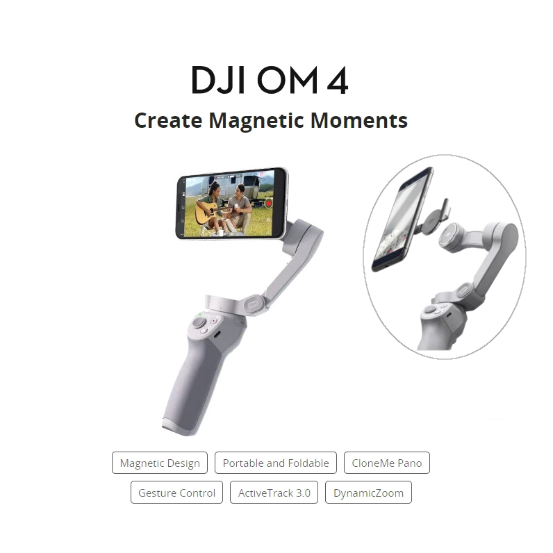 DJI OM 4 OSMO 4 3-Axis Brushless Stabilizer Foldable Handheld Gimbal Magnetic Design Gesture Control ActiveTrack 3.0 for Mobile Phones
