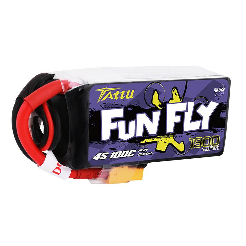 Tattu FunFly 1300mAh 100C 14.8V 4S1P lipo battery pack with XT60 Plug