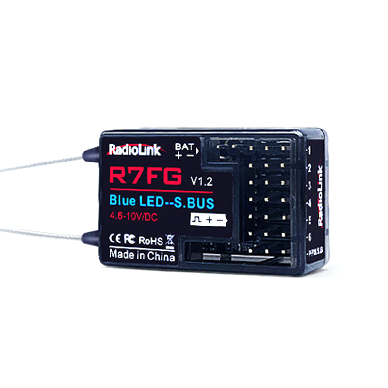 Radiolink R7FG 7 Channel 2.4G Receiver w/ Built-in Gyro Real-time Telemetry for RC Car Truck and Boat