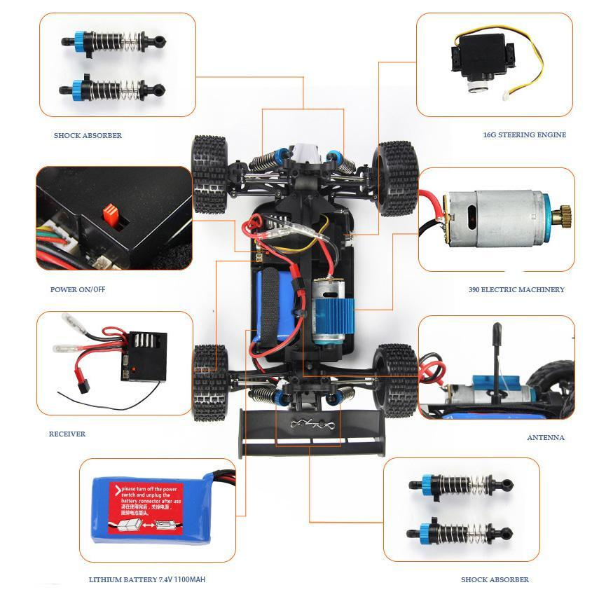 WLtoys A979 1/18 4WD Racing Car Remote Control Off-Road Race Car 2.4GHz Remote Radio-controlled High-Speed Truck Buggy