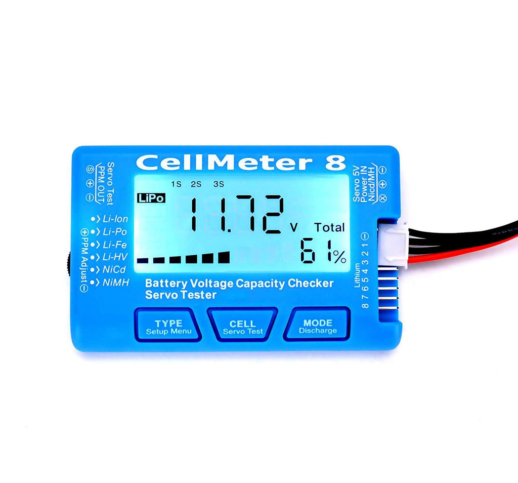 AOK Cell Meter 8 Digital Battery Capacity Checker Servo Tester LCD Back light for LiPo Life Li-ion NiMH Nicd