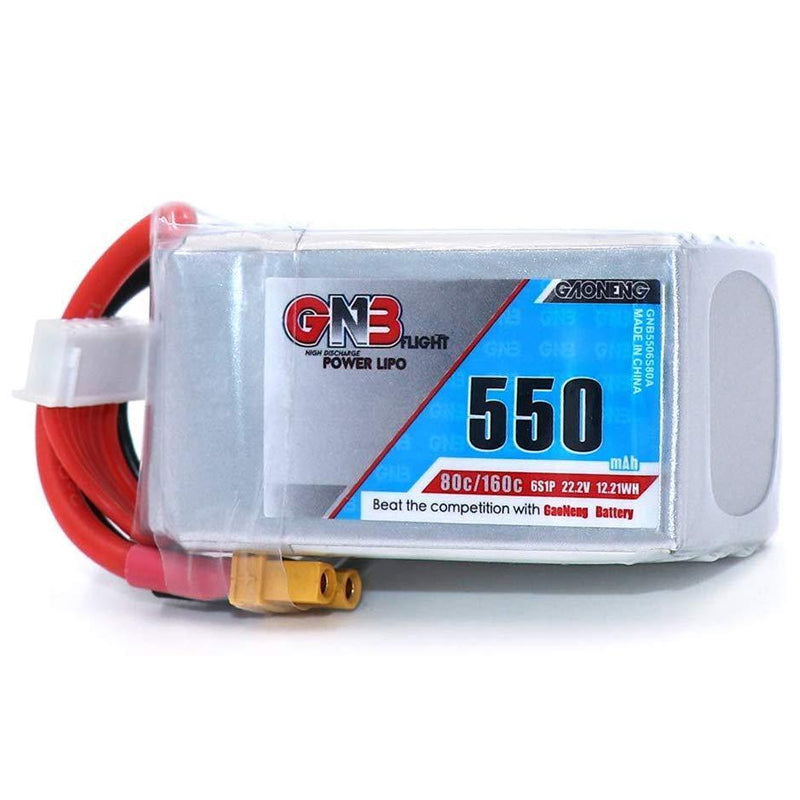 GNB 550/650/750/850mAh 6s Lipo 80C for Diatone 369S 3'' FPV 100mm to 180mm - Pack of 2 Batteries