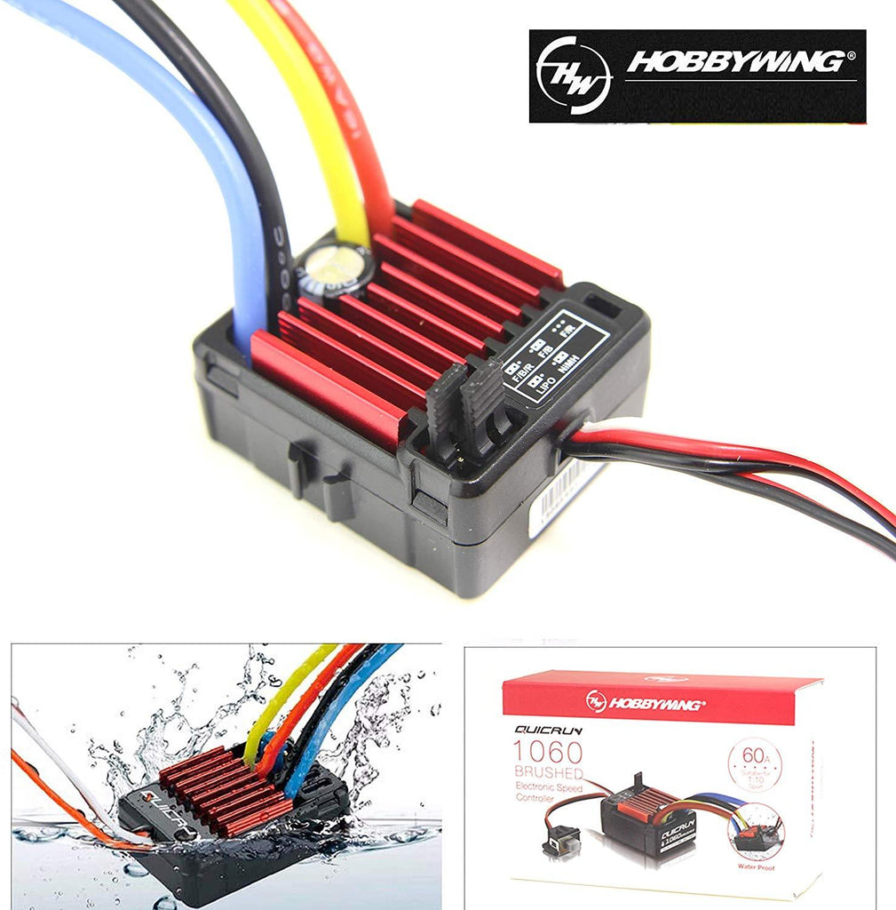 Hobbywing QuicRun WP 1060 Brushed ESC 60A 2-3S LiPo Waterproof for 1/10th Rc Touring Cars Buggies Rc Trucks Rock Crawlers