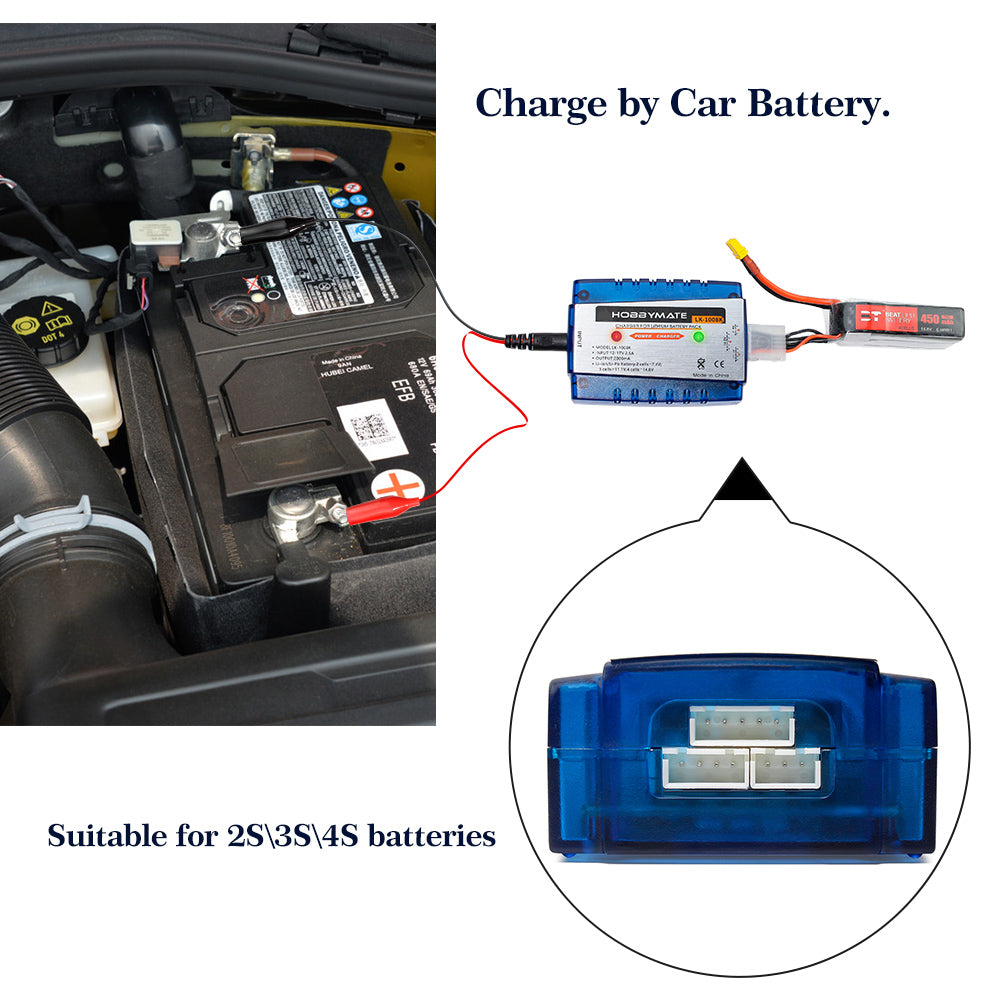 Hobbymate 2S 3S 4S Lipo Battery Charger, Lithium Polymer Battery Balance Charger