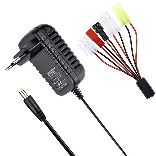 Hobbymate Rc Car Charger, Airsoft Battery Nimh/NiCd Battery Packs 2-8 Cells, w/ 6 Types of Plugs
