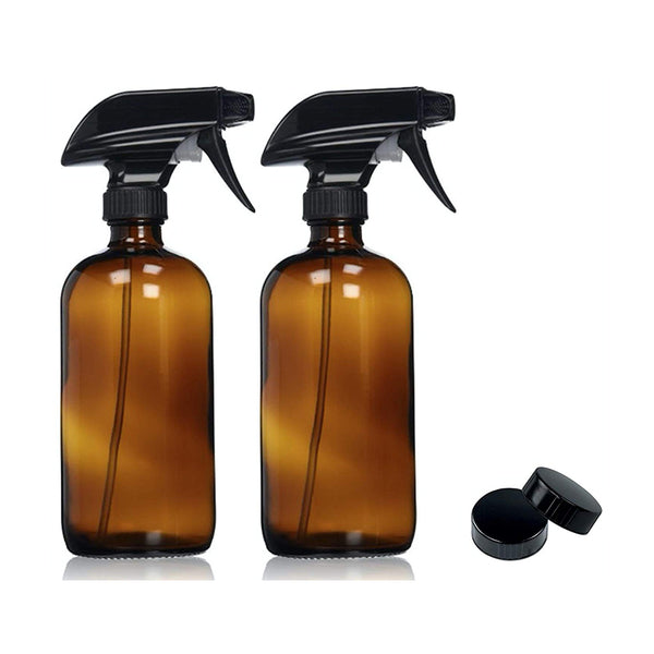 Amber Glass Spray Bottles with Labels (2 Pack)