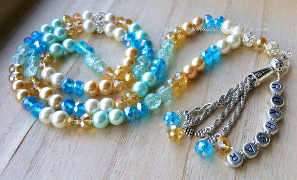 Pastel Blues & Gold-PersonalizedTasbihs4u