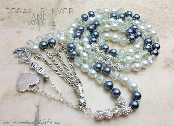 Regal Silver & White-PersonalizedTasbihs4u